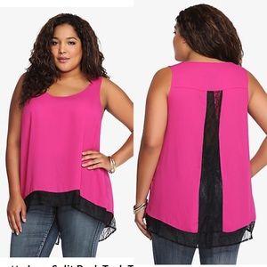 NWT Torrid plus size pink & black open back top 2X